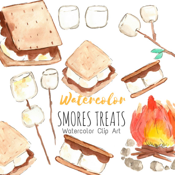 Breakfast clipart watercolor. Smores clip art camping