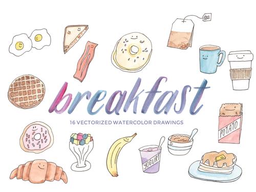 Breakfast clipart watercolor. Foods vector clip art