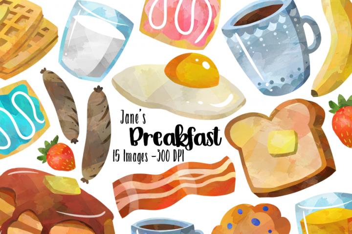 Breakfast clipart watercolor. By digitalartsi images