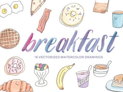 Breakfast clipart watercolor. Clip art by jennifer