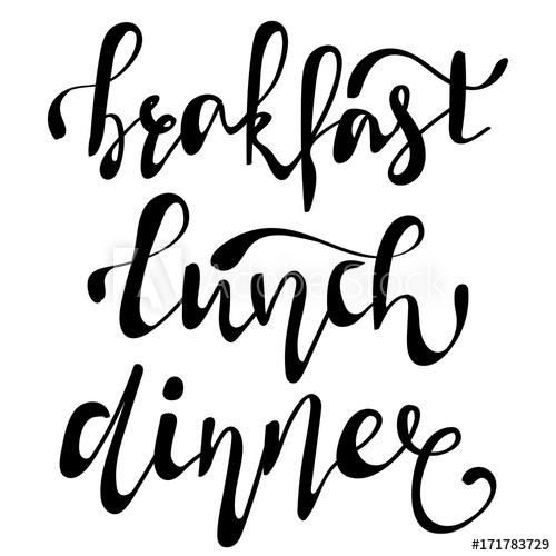 Hand lettering collection for. Breakfast clipart word