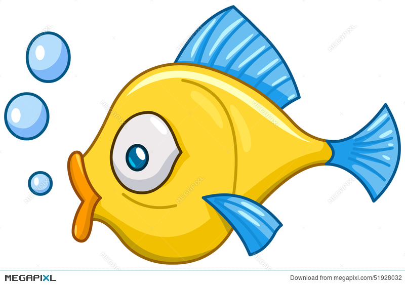 Fish with bubbles illustration. Breathing clipart animal breathing