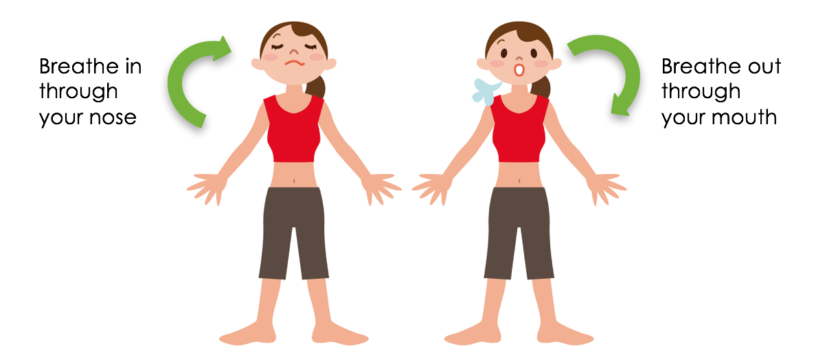 Controlled breath technique aligned. Calm clipart breathing exercise