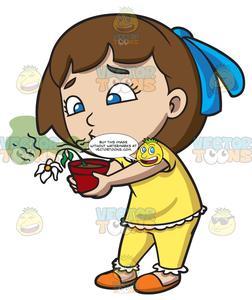 A girl kills flower. Breath clipart cartoon