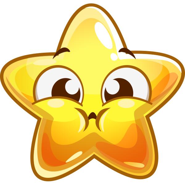 Star holds symbols emoticons. Breath clipart emoji