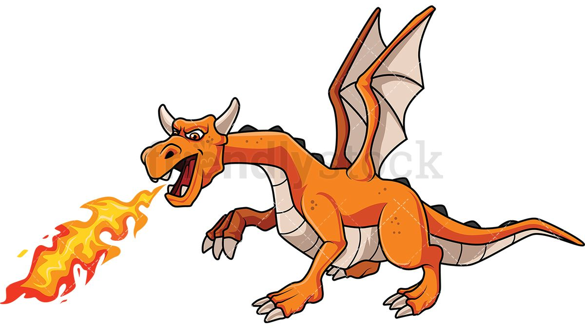 Orange dragon breathing fire. Breath clipart exhalation