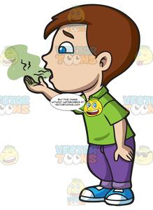 A boy trying to. Breath clipart halitosis