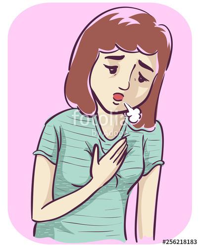 Breathe clipart shortness breath. Girl illustration stock image