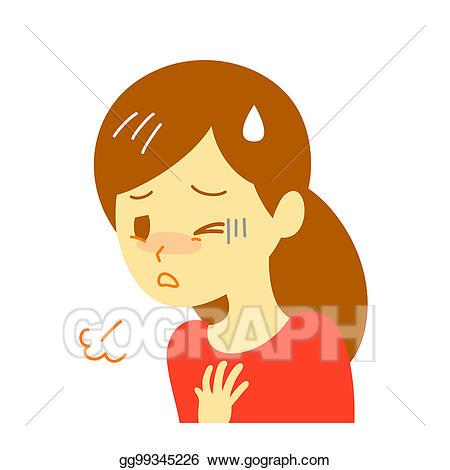 Stock illustration shortness of. Breath clipart woman