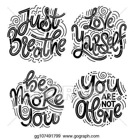 Eps vector inspirational quotes. Breathe clipart mental health