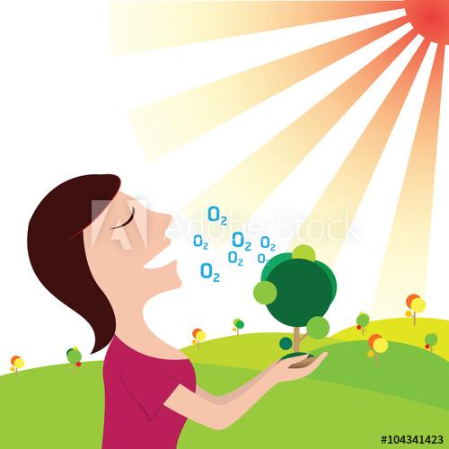 Breathe clipart oxygen. Women in pure nature