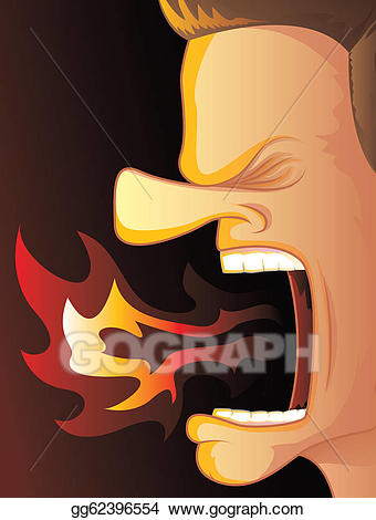 Vector art fire anger. Breathing clipart mouth