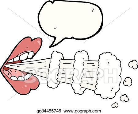 Vector illustration speech bubble. Breathing clipart mouth