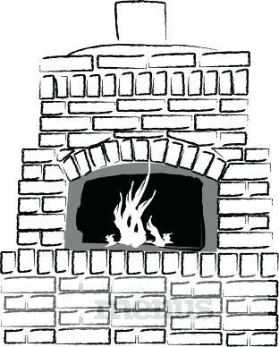 Brick clipart brick chimney. Fireplace black and white