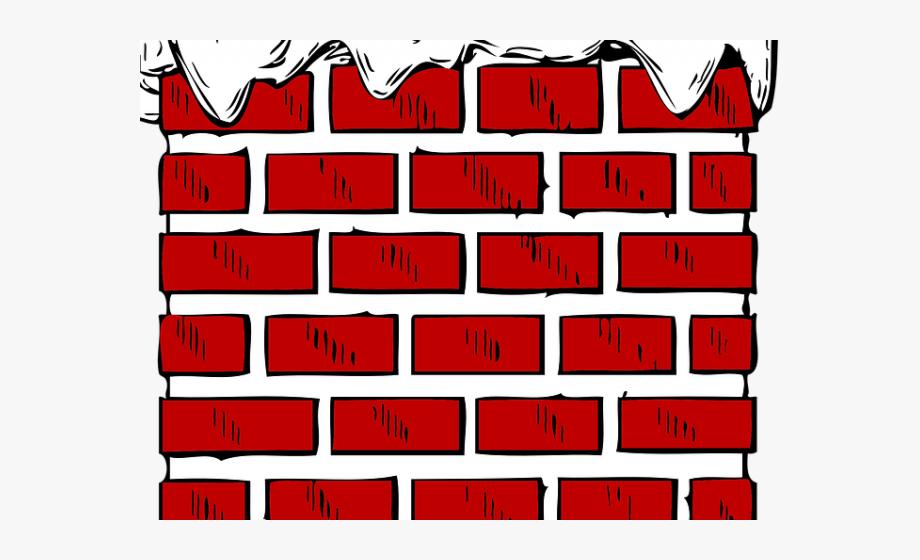 Brick clipart brick chimney. Wall cartoon with snow