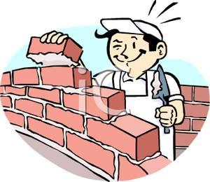 Carpentry clipart masonry. Man laying bricks royalty