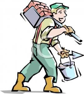 Brick clipart cartoon. A of man carrying