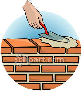 Carpentry clipart masonry. A person spreading cement