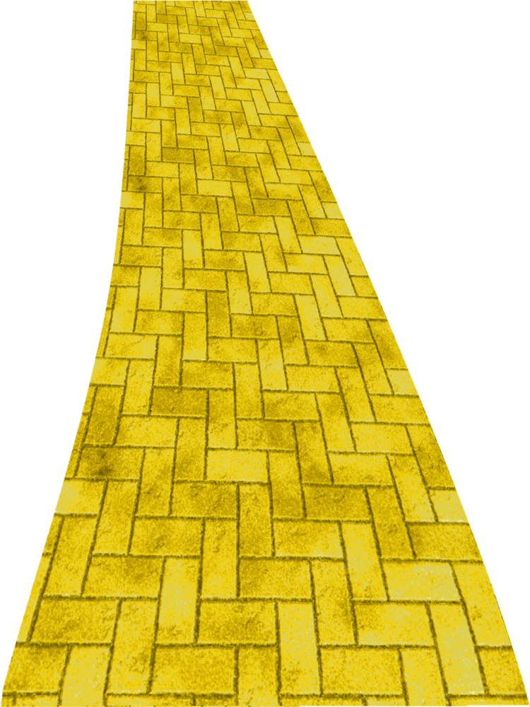 Yellow brick drawing at. Trail clipart curve road