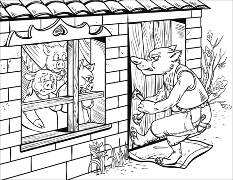 The wolf cannot enter. Brick clipart coloring