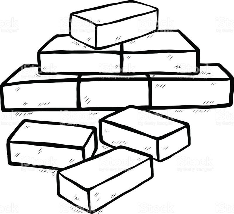 Brick clipart coloring page. Bricks drawing at getdrawings