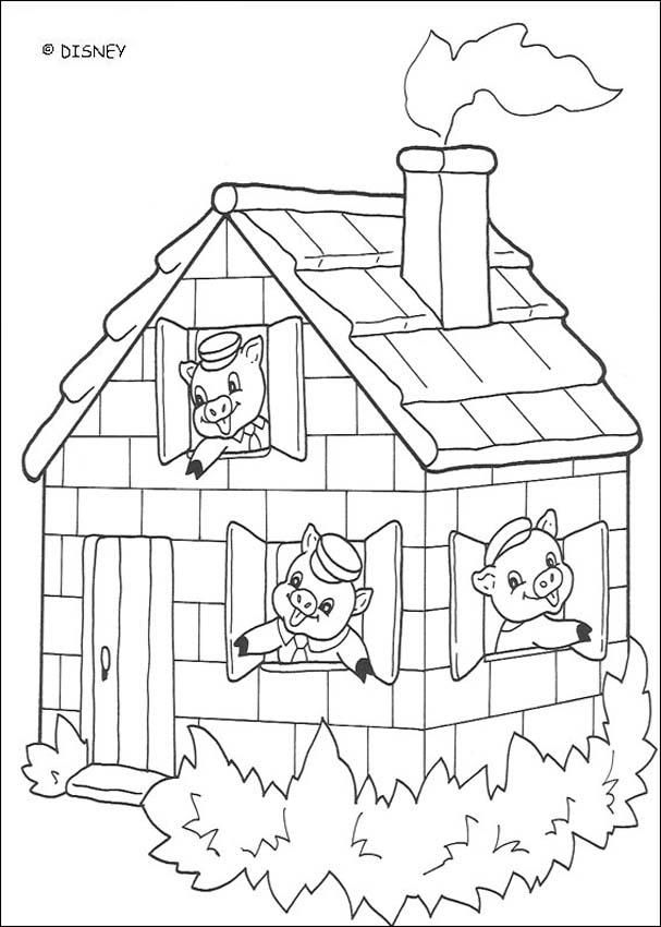 Three little pigs pages. Brick clipart coloring page