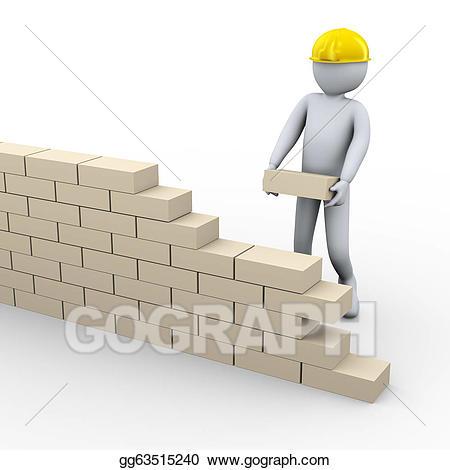 Brick clipart construction brick. Stock illustrations d man