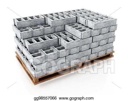 Brick clipart stacked. Stack of gray construction