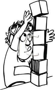 Picture a boy stacking. Building clipart black and white