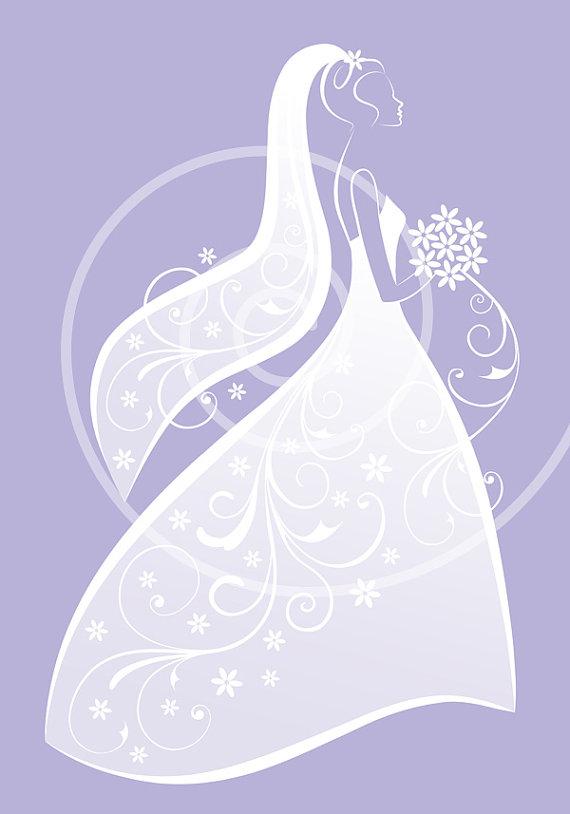 Bride white wedding dress. Bridal clipart