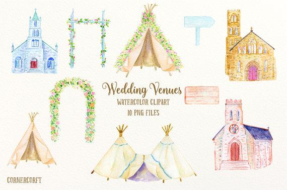 Bridal clipart arch. Watercolor wedding venues churches