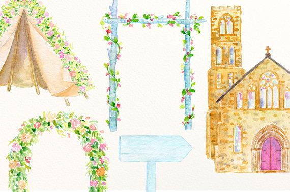Watercolor wedding venues churches. Bridal clipart arch