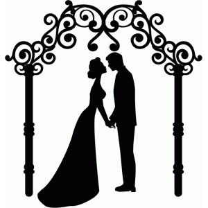 Silhouette design store view. Bridal clipart arch