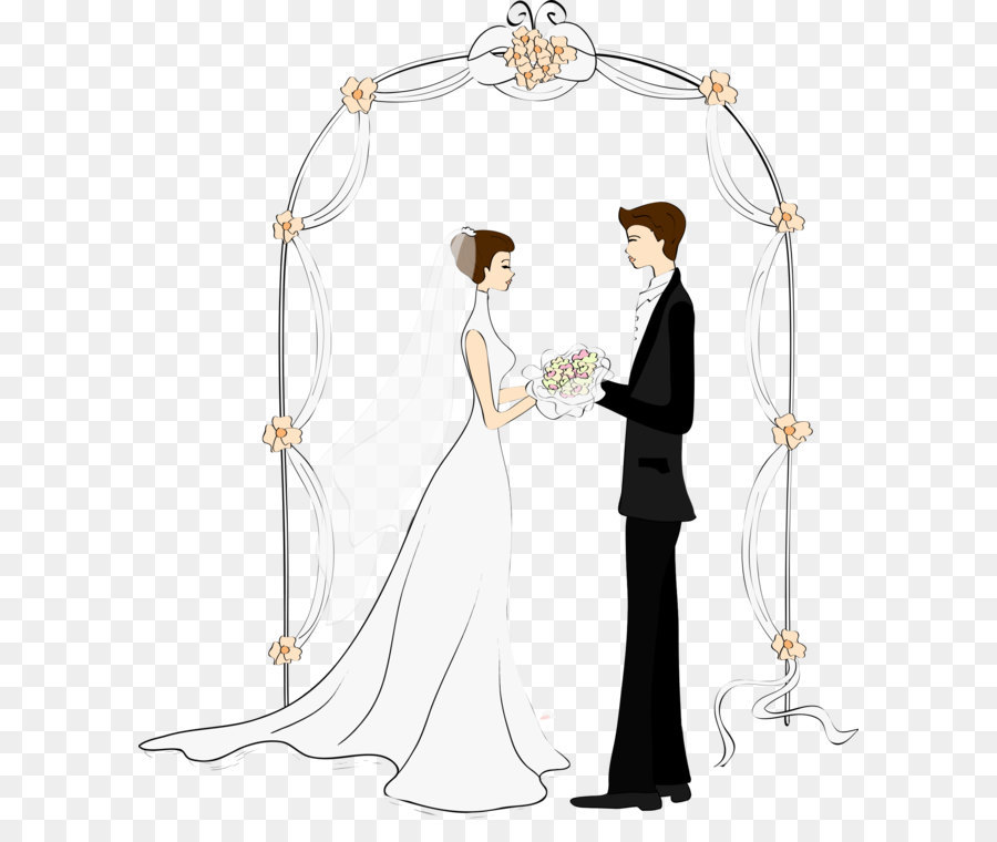 Cartoon couple wedding drawing. Bridal clipart arch