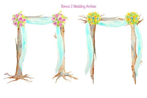Bridal clipart arch. Hand painted watercolour beach