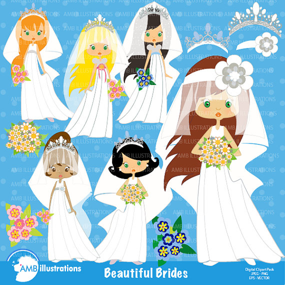 Bridal clipart art. Wedding brides commercial off