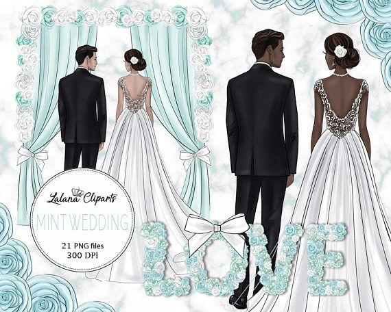 Bridal clipart art. Wedding clip love mint