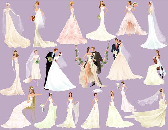 Instant download digital bride. Bridal clipart art