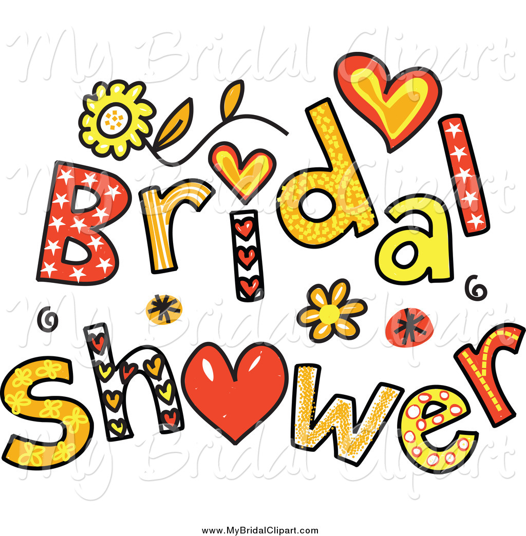 Of colorful shower text. Bridal clipart art