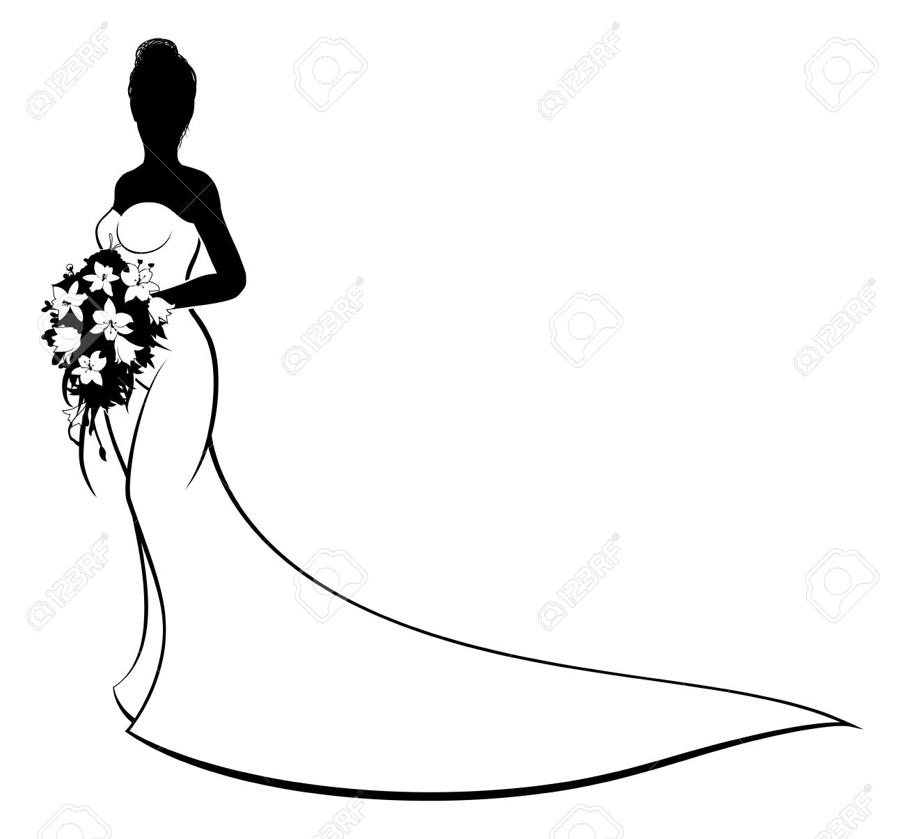 Bride clipart black and white. Free download best