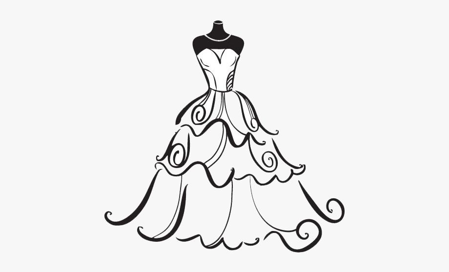 Bridal wedding artwork dress. Bride clipart black and white