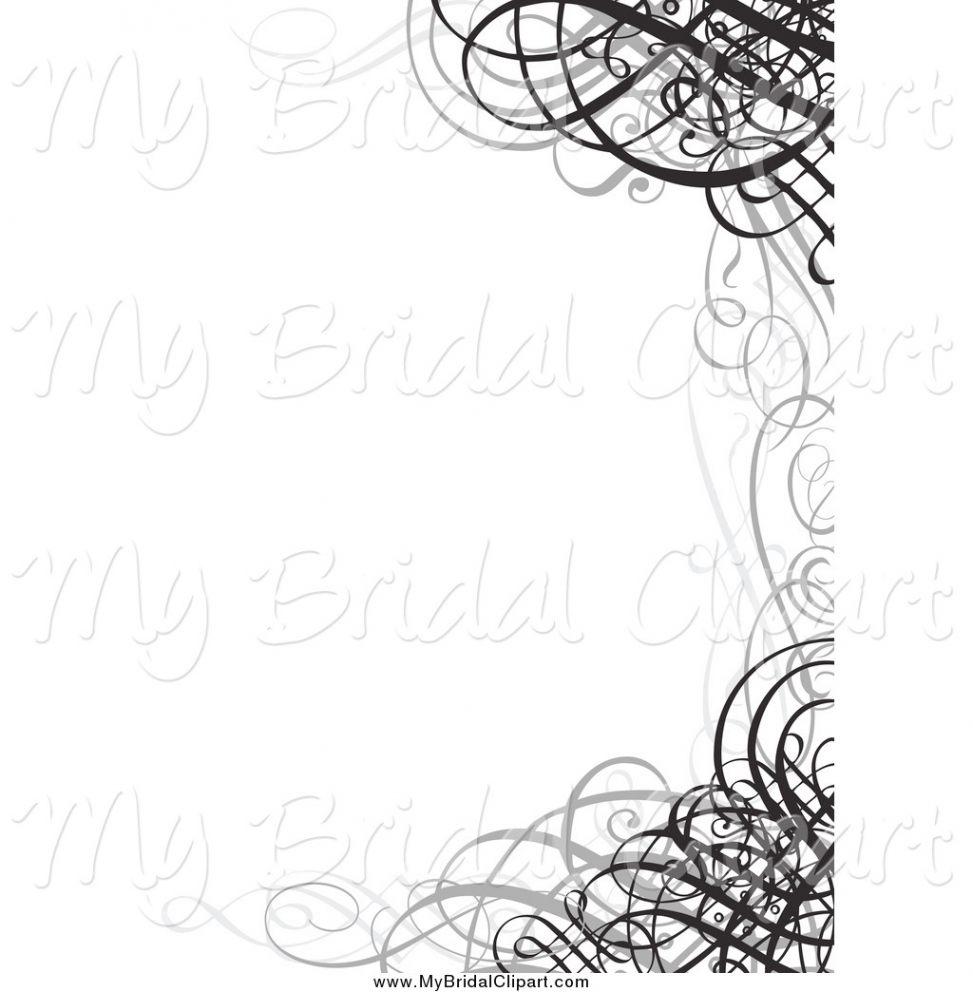 Of a grayscale swirl. Bridal clipart border