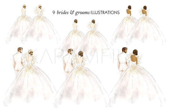 Bridal clipart bride. Wedding groom illustrations creative