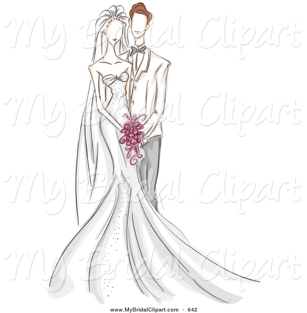 Bridal clipart bride. Of a sketched wedding