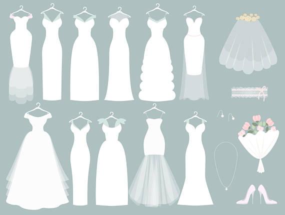 Wedding dress digital clip. Bridal clipart bride groom