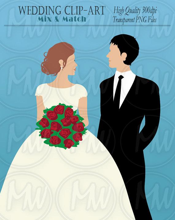 Wedding color clip art. Bridal clipart bride groom