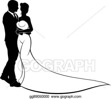 Vector wedding and groom. Bridal clipart bride silhouette