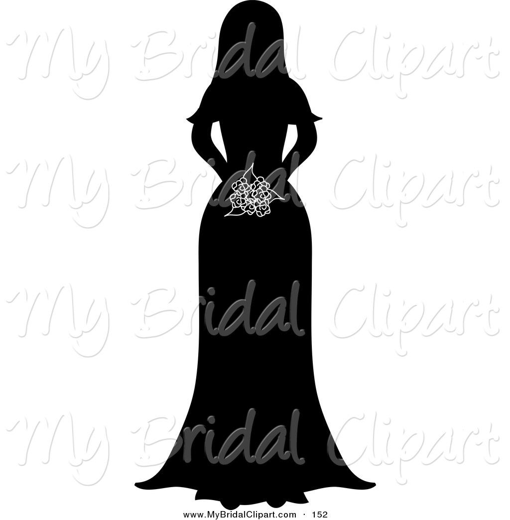 Bouquet clipart silhouette. Bride clip art at