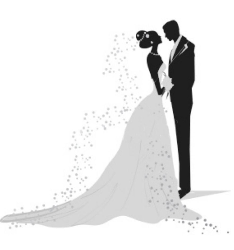 And groom wedding couple. Bridal clipart bride silhouette