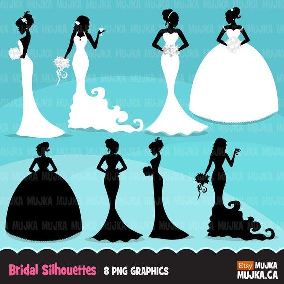 Bridal clipart bride silhouette. Wedding fashion illustration african